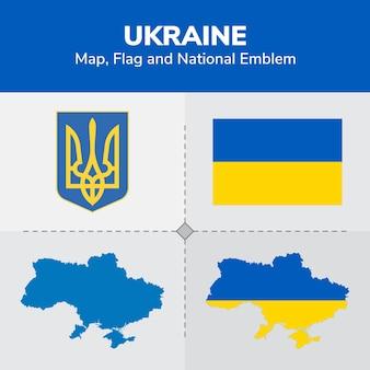 Mapa de ucrania, bandera y emblema nacional