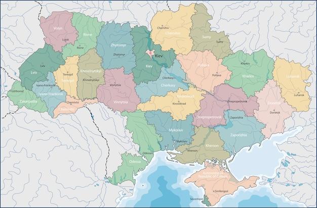 Mapa De Ucrania Vector Premium