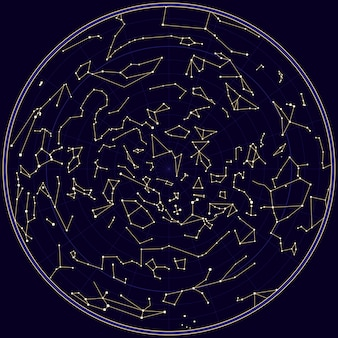 Mapa del vector del cielo del norte con constelaciones