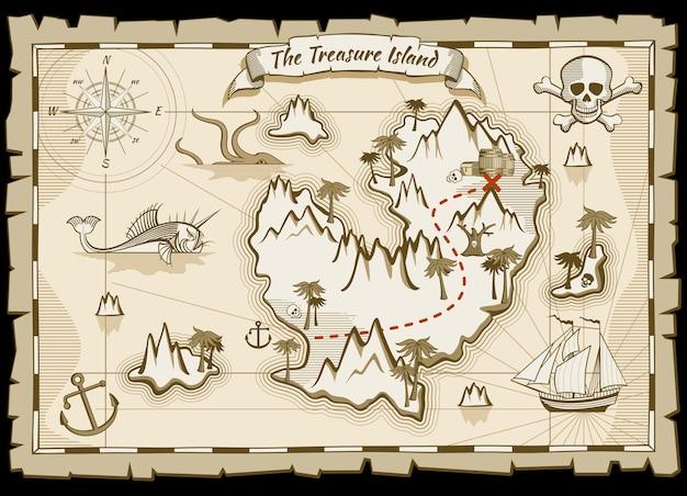 Mapa del vector dibujado a mano pirata tesoro