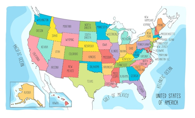 Mapa del vector de los estados unidos de américa.