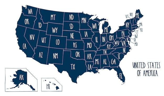 Mapa de vectores dibujados a mano de los estados unidos de américa.