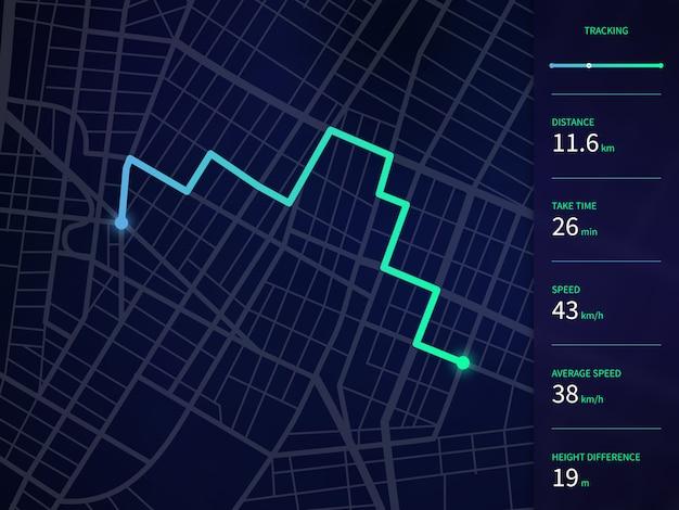 Mapa vectorial de la ciudad con la ruta y la interfaz de datos para la aplicación de navegación y seguimiento de gps
