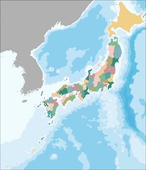 Mapa vectorial de japón dividido en prefecturas
