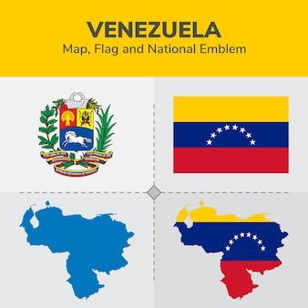 Mapa de venezuela, bandera y emblema nacional