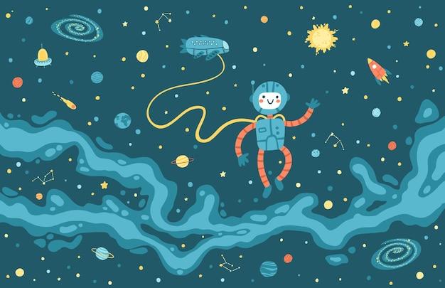 Mapa de la vía láctea con un lindo astronauta y una nave espacial.