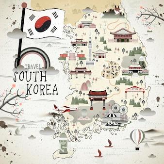 Mapa de viaje de corea del sur retro en estilo plano