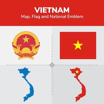 Mapa de vietnam, bandera y emblema nacional