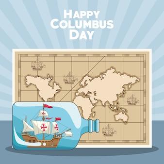 Mapa vintage y diseño feliz del día de colón