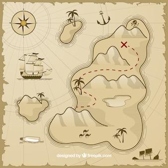 Mapa vintage con isla del tesoro y barco pirata
