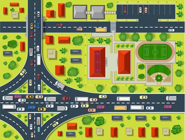 Mapa de una vista superior de los tejados, calles de la ciudad, árboles