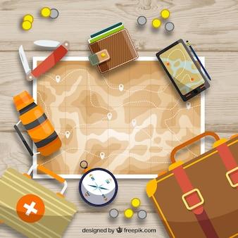Mapa y elementos de viaje con diseño plano