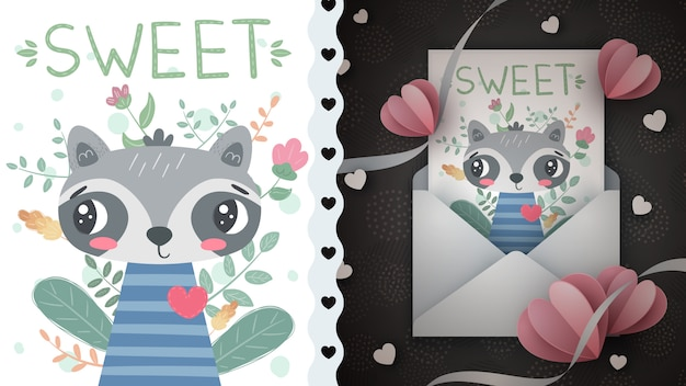 Mapache del amor - idea para la tarjeta de felicitación. dibujar a mano