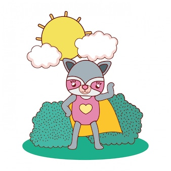 Mapache hembra con máscara de traje y capa en el paisaje