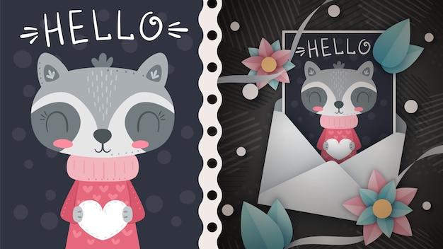 Mapache con idea de corazón para tarjeta de felicitación. dibujar a mano