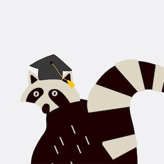 Mapache inteligente con un vector de sombrero de graduación