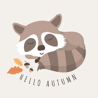 Mapache lindo con las hojas de otoño y el roble.