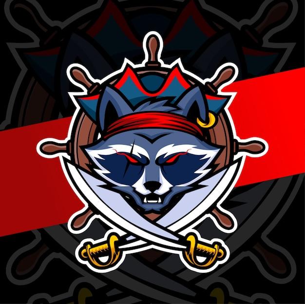 Mapache pirata mascota esport logo