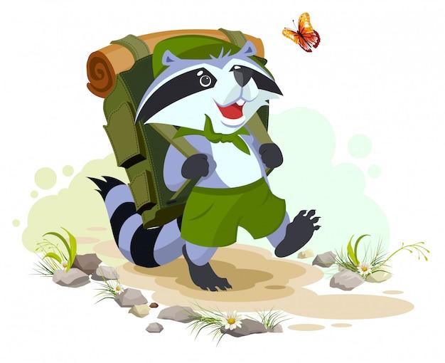 El mapache scout con mochila va de campamento. camping de verano