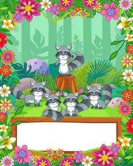 Los mapaches lindos con las flores y la madera en blanco firman adentro el bosque. vector