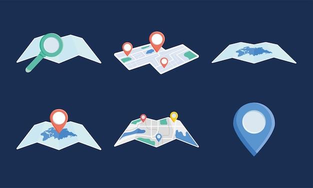 Mapas de la ciudad y chinchetas de ubicación
