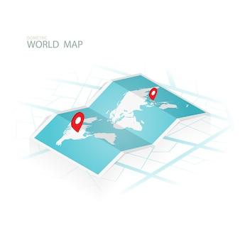 Mapas y navegación isométrica, vector de mapa wolrd