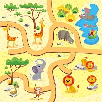 Mapas terrestres de animales de safari con desafío de laberinto de carreteras para el diseño de niños