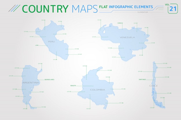 Mapas vectoriales de perú, venezuela, colombia, argentina y chile