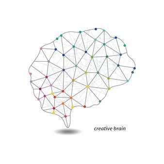 Mapeo de cerebro de color vectorial con diseño de puntos.