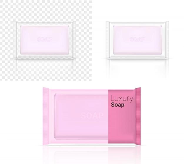 Maqueta 3d hasta barra de jabón realista cosmética transparente embalaje