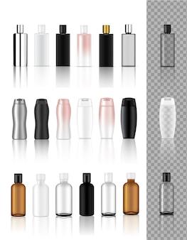Maqueta 3d hasta botella cosmética transparente realista