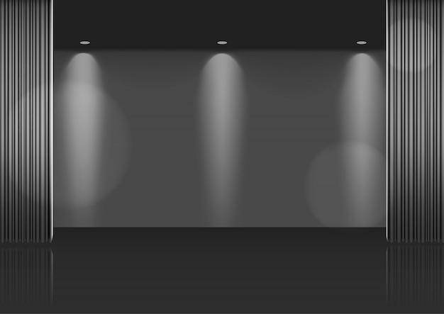 Maqueta 3d cortina metálica abierta realista en el escenario o cine para espectáculo, concierto o presentación con fondo de spotlight