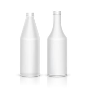 Maqueta 3d paquete de botella de plástico blanco. diseño de contenedor limpio en blanco de vector.