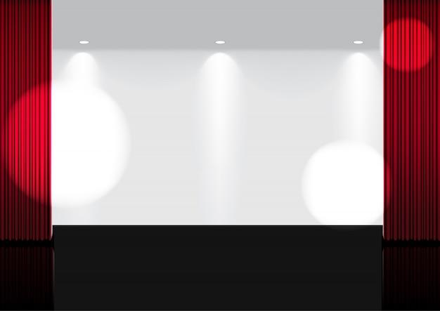 Maqueta 3d realista cortina roja abierta en el escenario o cine para mostrar