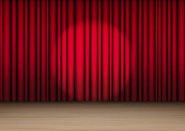Maqueta 3d realista cortina roja en el escenario de madera o cine para espectáculo, concierto o presentación con vector de ilustración de fondo de spotlight