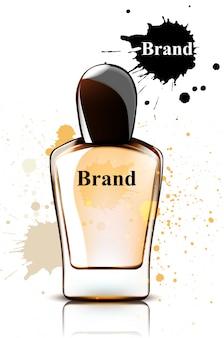 Maqueta de acuarela de botella de perfume