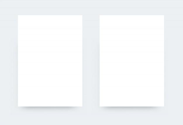 Maqueta blanca con sombra. formato de documento oficial. comparación de dos listas. maqueta realista de papel blanco