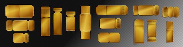 Maqueta de boletos dorados en blanco con código de barras y línea de puntos.