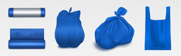Maqueta de bolsa de basura, rollo de plástico y saco lleno de basura. envase azul desechable para basura y supermercado. artículos para el hogar para tirar basura, conjunto de ilustración 3d realista aislado