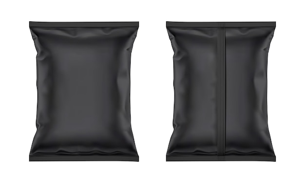 Maqueta de bolsa de papel de plástico en blanco negro de vector para diseño de envases aislado sobre fondo blanco