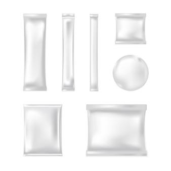 Maqueta de bolsa de plástico en blanco.