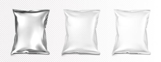 Maqueta de bolsas de plástico y papel de aluminio, maqueta de paquetes de almohadas de color blanco, transparente y plateado metálico en blanco.