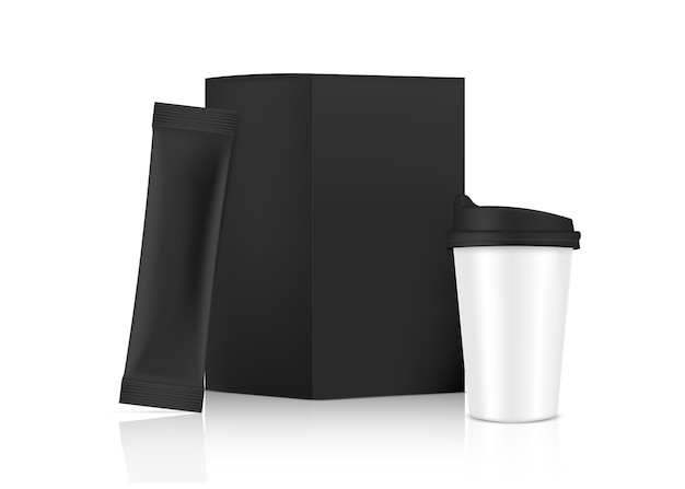 Maqueta de bolsita de palo brillante 3d y taza con caja de papel aislada sobre fondo blanco. . diseño de concepto de envasado de alimentos y bebidas.