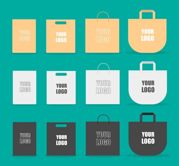 Maqueta de bolso con diseño de tipografía.