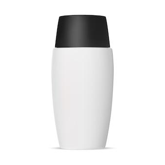 Maqueta de botella de champú diseño de plantilla de tubo ovalado con tapa negra embalaje redondo de gel corporal realista