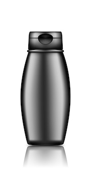 Maqueta de botella cosmética negra aislada del fondo: gel de ducha, champú, loción, crema, limpiador