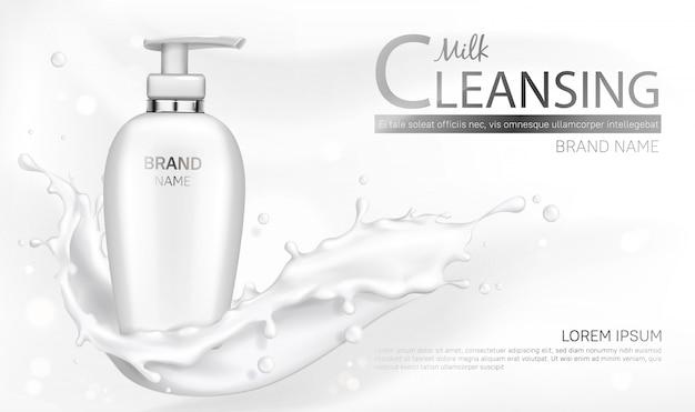 Maqueta de botella de cosméticos de leche con diseño splash