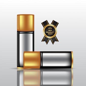 Maqueta de botella de perfume, botella cosmética en blanco en la ilustración 3d