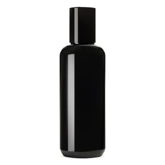 Maqueta de botella de vidrio negro brillante.