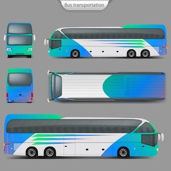 Maqueta del bus entrenador realista atrás, vista desde arriba